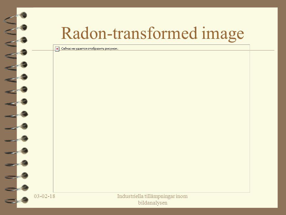 03-02-18Industriella tillämpningar inom bildanalysen Radon-transformed image