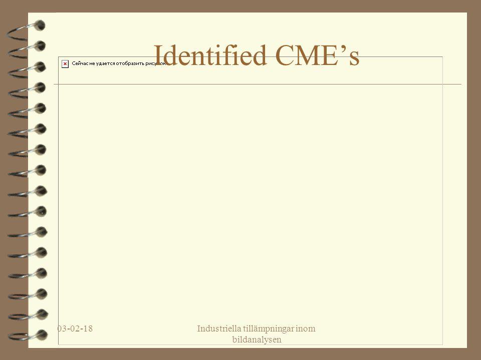 03-02-18Industriella tillämpningar inom bildanalysen Identified CME's