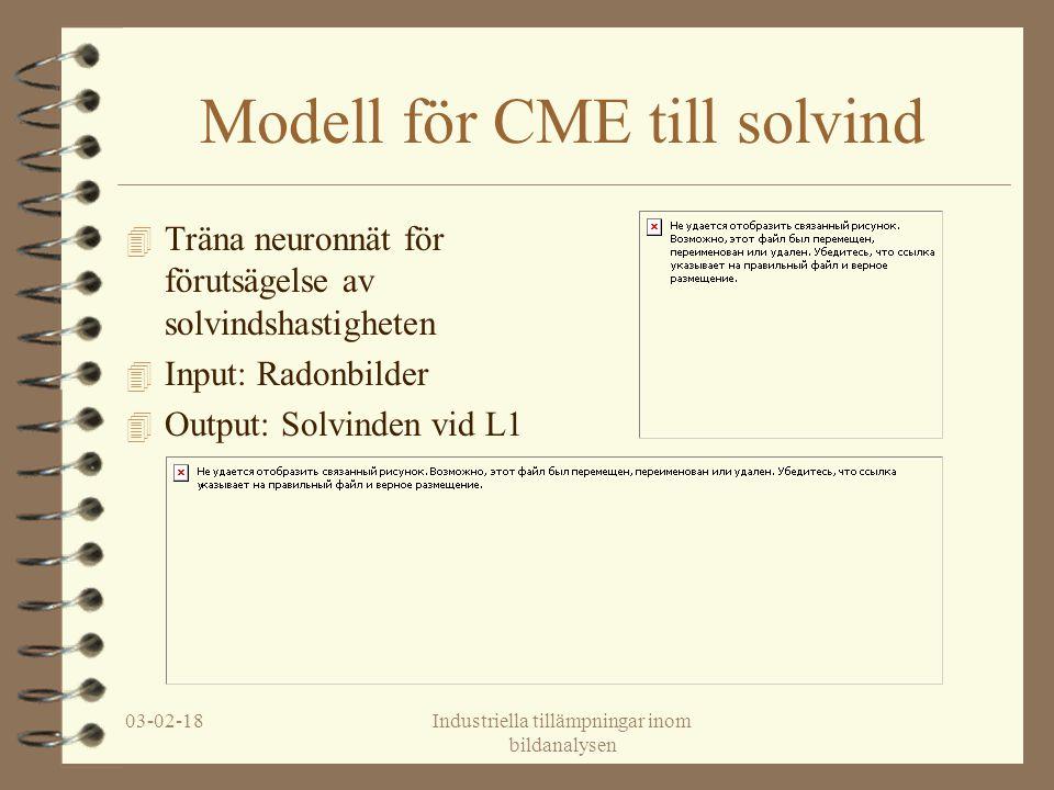 03-02-18Industriella tillämpningar inom bildanalysen Modell för CME till solvind 4 Träna neuronnät för förutsägelse av solvindshastigheten 4 Input: Radonbilder 4 Output: Solvinden vid L1