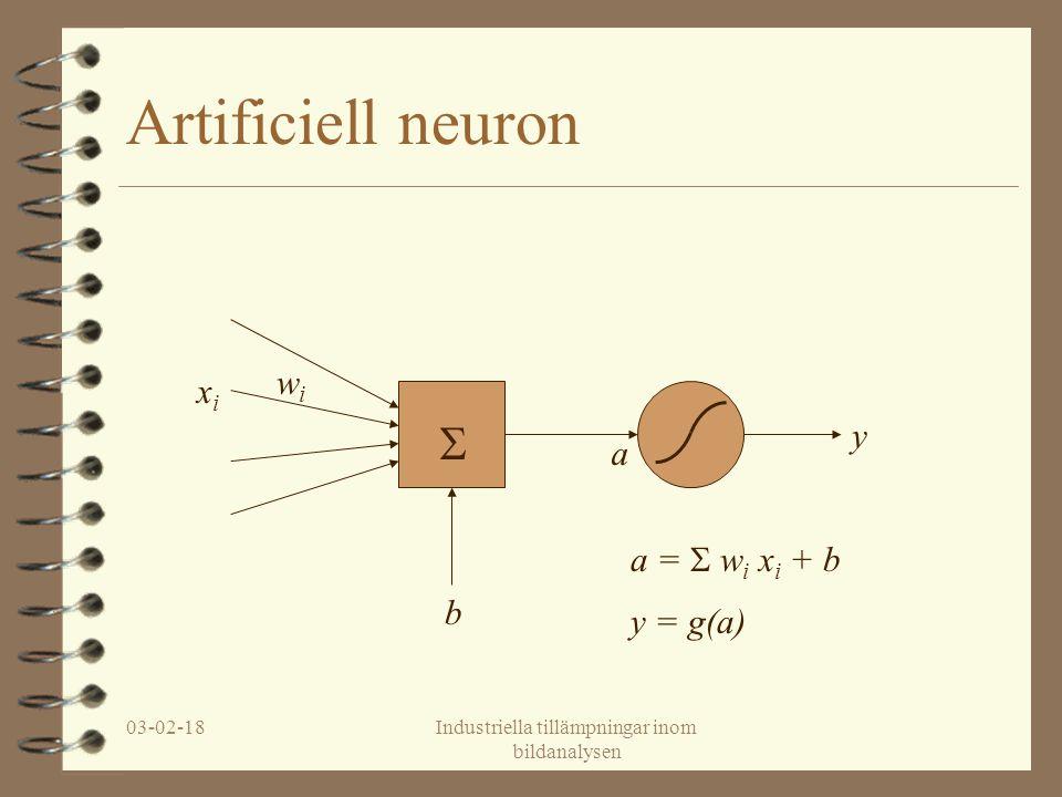 03-02-18Industriella tillämpningar inom bildanalysen En neuron – linjär klassificering a =  w i x i + b x1x1 x2x2 a = w 1 x 1 + w 2 x 2 + b a = x 1 - x 2 + 0.5 y = g(a) = 0 om a<0 1 om a>0