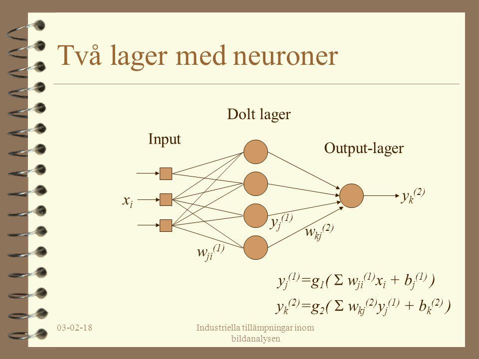 03-02-18Industriella tillämpningar inom bildanalysen Två lager med neuroner Input Dolt lager Output-lager xixi w ji (1) y j (1) w kj (2) y k (2) y k (2) =g 2 (  w kj (2) y j (1) + b k (2) ) y j (1) =g 1 (  w ji (1) x i + b j (1) )