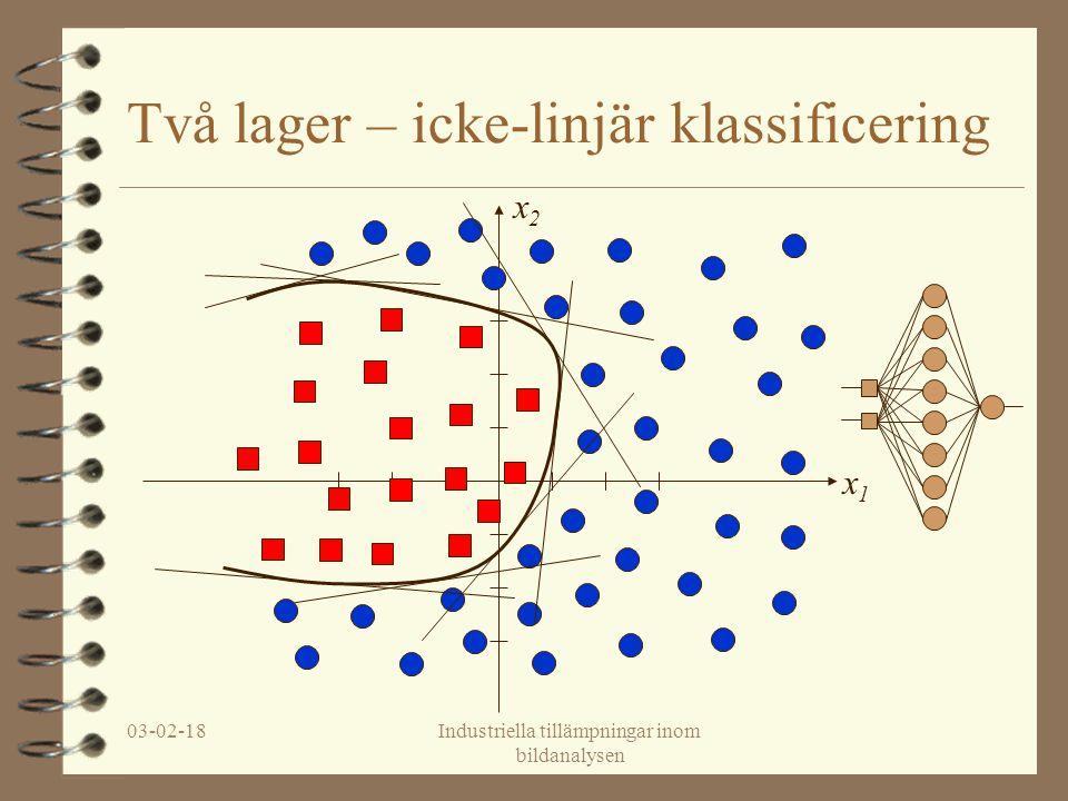 03-02-18Industriella tillämpningar inom bildanalysen Feed-forward neuronnät 4 Ett lager –Linjär klassificering 4 Två lager –(Konvex) icke-linjär klassificering –Kontinuerliga icke-linjära kurvor 4 Tre lager –Generell icke-linjär klassificering –Icke-kontinuerliga och icke-linjära kurvor