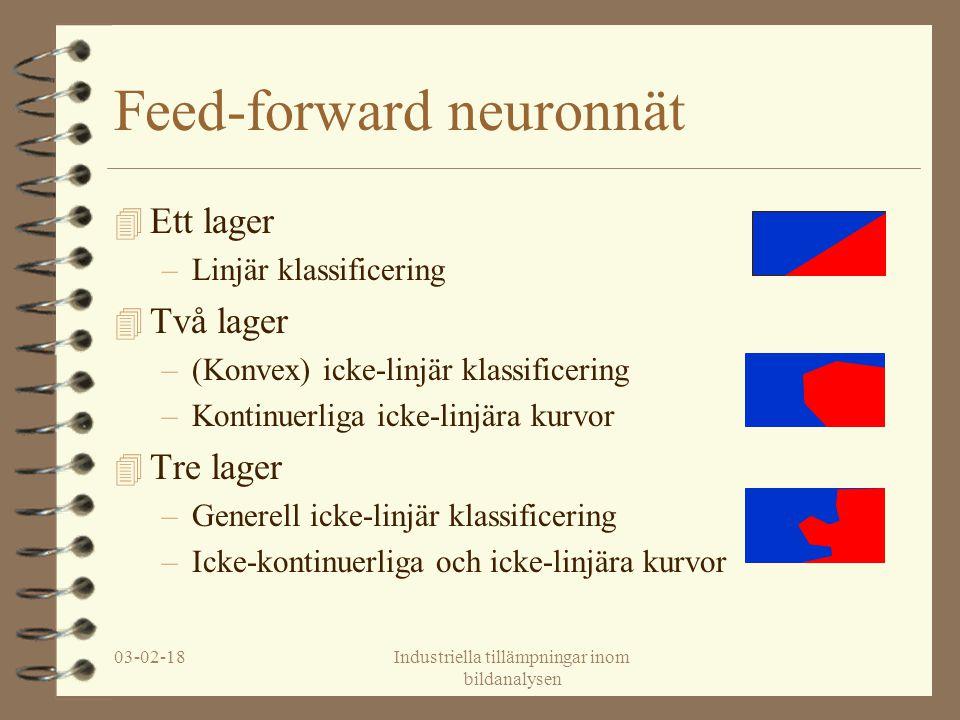 03-02-18Industriella tillämpningar inom bildanalysen Feed-forward neuronnät 4 Ett lager –Linjär klassificering 4 Två lager –(Konvex) icke-linjär klass