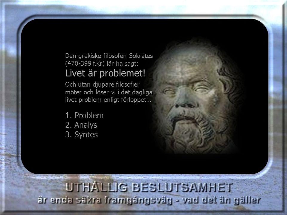Den grekiske filosofen Sokrates (470-399 f.Kr) lär ha sagt: Livet är problemet.