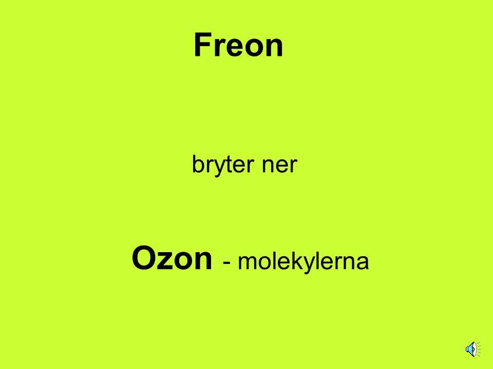 Freon Är en kemisk förening som innehåller atomer av grundämnena:  Kol som tecknas C  Klor som tecknas Cl  Fluor som tecknas F