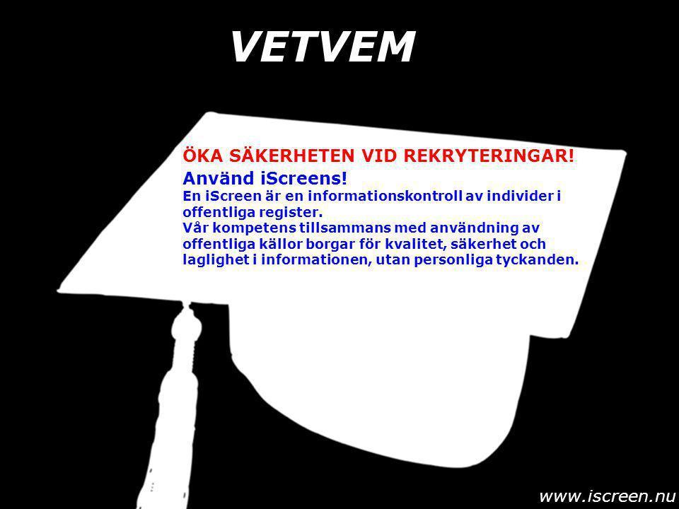 VETVEM www.iscreen.nu Använd iScreens.