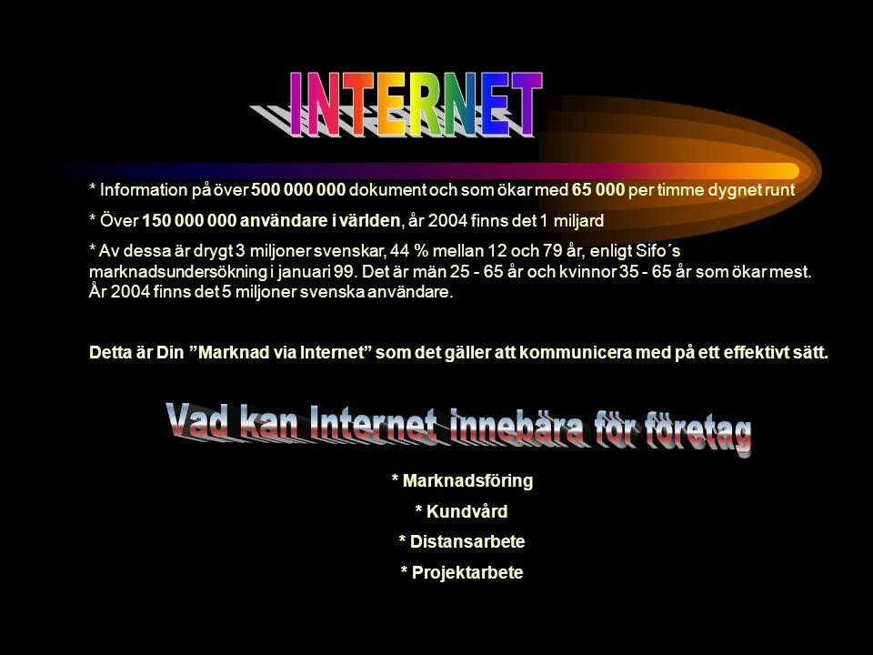 * Information på över 500 000 000 dokument och som ökar med 65 000 per timme dygnet runt * Över 150 000 000 användare i världen, år 2004 finns det 1 miljard * Av dessa är drygt 3 miljoner svenskar, 44 % mellan 12 och 79 år, enligt Sifo´s marknadsundersökning i januari 99.