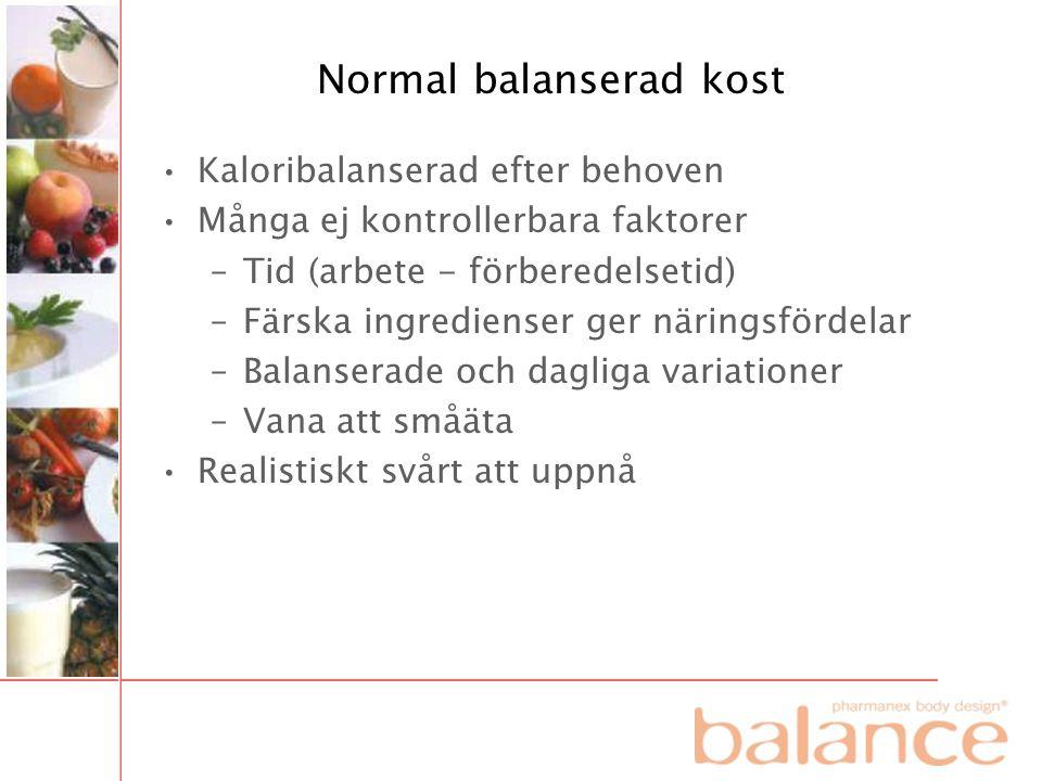 Normal balanserad kost •Kaloribalanserad efter behoven •Många ej kontrollerbara faktorer –Tid (arbete - förberedelsetid) –Färska ingredienser ger näri