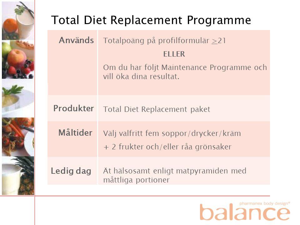 Total Diet Replacement Programme Totalpoäng på profilformulär >21 ELLER Om du har följt Maintenance Programme och vill öka dina resultat. Total Diet R