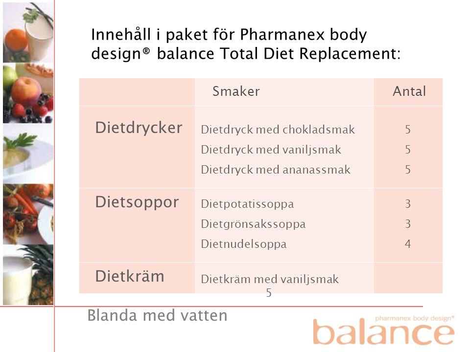 Innehåll i paket för Pharmanex body design® balance Total Diet Replacement: Dietdrycker Smaker Dietsoppor Dietkräm Antal Dietdryck med chokladsmak Die