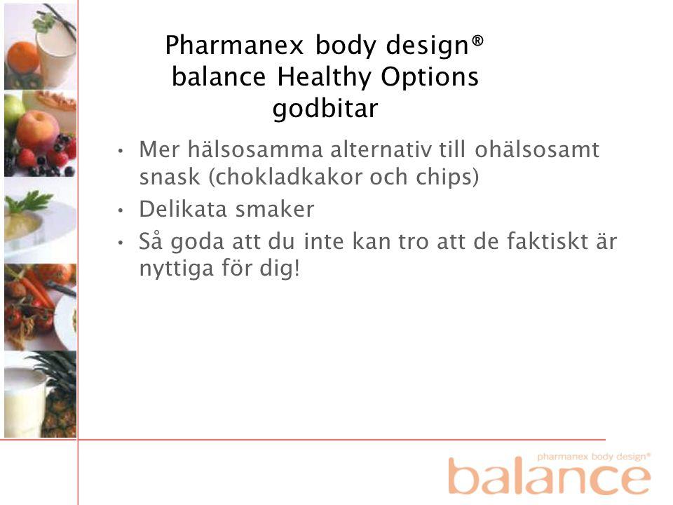 Pharmanex body design® balance Healthy Options godbitar •Mer hälsosamma alternativ till ohälsosamt snask (chokladkakor och chips) •Delikata smaker •Så