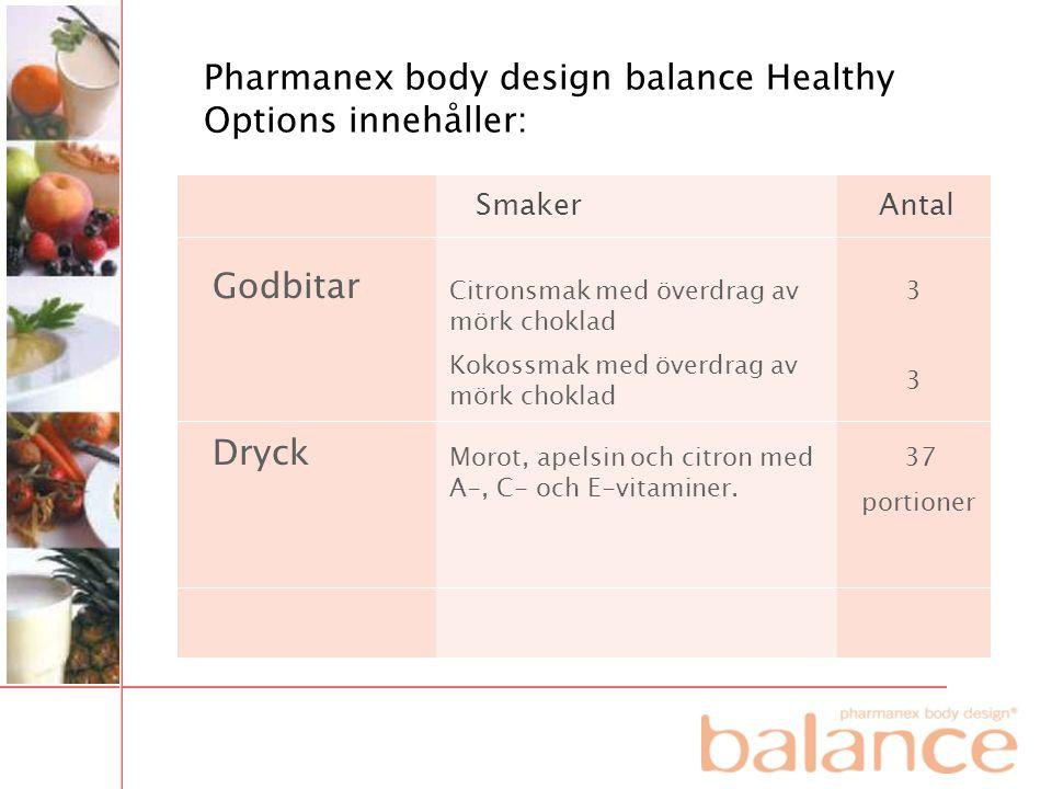 Pharmanex body design balance Healthy Options innehåller: Godbitar Smaker Dryck Antal Citronsmak med överdrag av mörk choklad Kokossmak med överdrag a