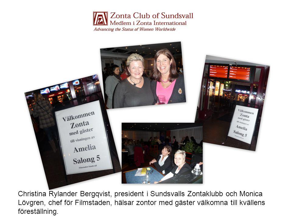 Christina Rylander Bergqvist, president i Sundsvalls Zontaklubb och Monica Lövgren, chef för Filmstaden, hälsar zontor med gäster välkomna till kvällens föreställning.