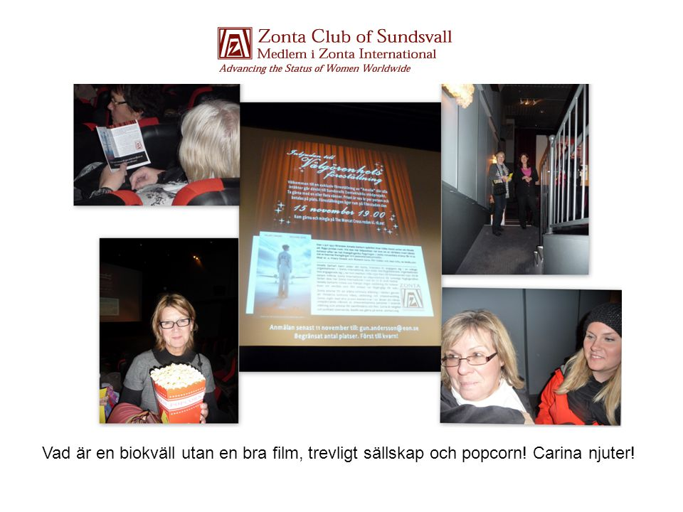 Vad är en biokväll utan en bra film, trevligt sällskap och popcorn! Carina njuter!