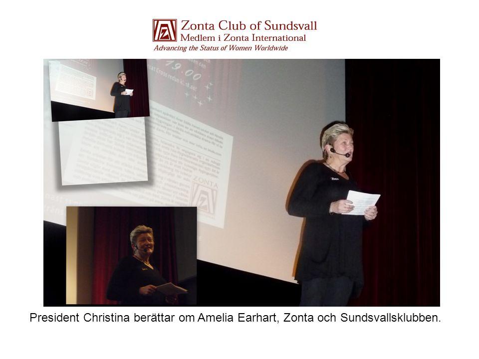 President Christina berättar om Amelia Earhart, Zonta och Sundsvallsklubben.