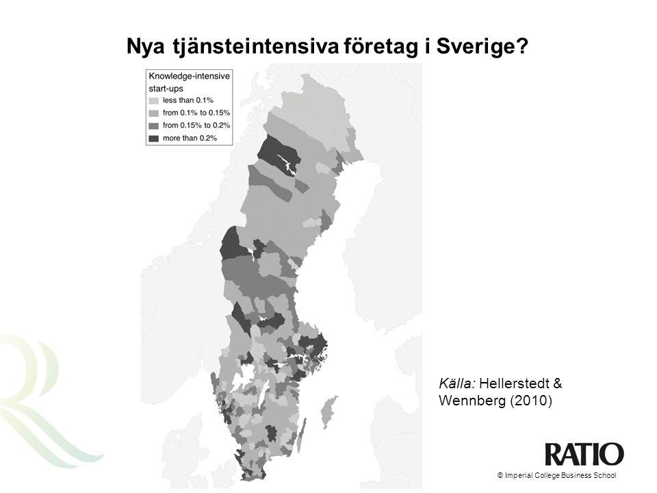 Relativ skillnad mellan entreprenörskap i storstäder och i glesbygd Stockholm – Sveriges tjänstemotor.