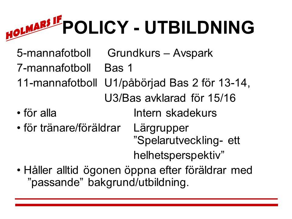 HOLMARS IF POLICY - UTBILDNING 5-mannafotboll Grundkurs – Avspark 7-mannafotbollBas 1 11-mannafotbollU1/påbörjad Bas 2 för 13-14, U3/Bas avklarad för