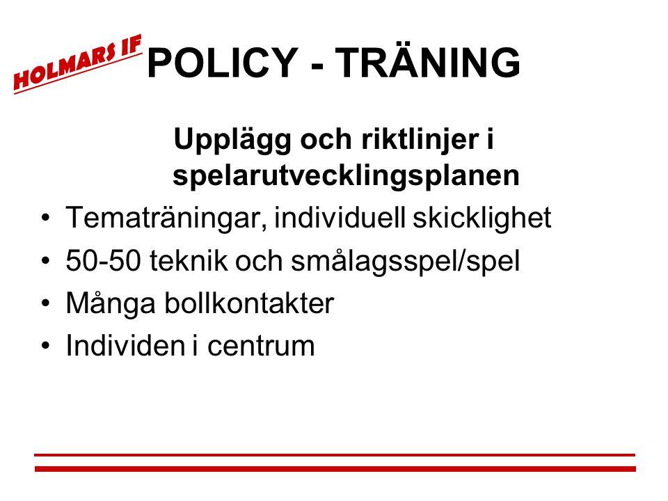 HOLMARS IF POLICY - TRÄNING Upplägg och riktlinjer i spelarutvecklingsplanen •Tematräningar, individuell skicklighet •50-50 teknik och smålagsspel/spe