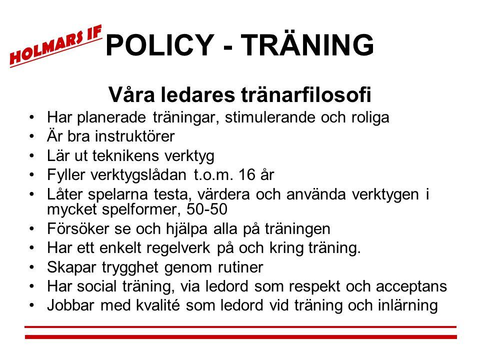 HOLMARS IF POLICY - TRÄNING Våra ledares tränarfilosofi •Har planerade träningar, stimulerande och roliga •Är bra instruktörer •Lär ut teknikens verkt