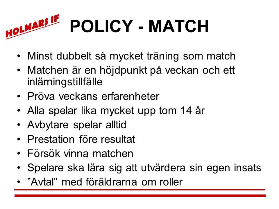 HOLMARS IF POLICY - MATCH •Minst dubbelt så mycket träning som match •Matchen är en höjdpunkt på veckan och ett inlärningstillfälle •Pröva veckans erf