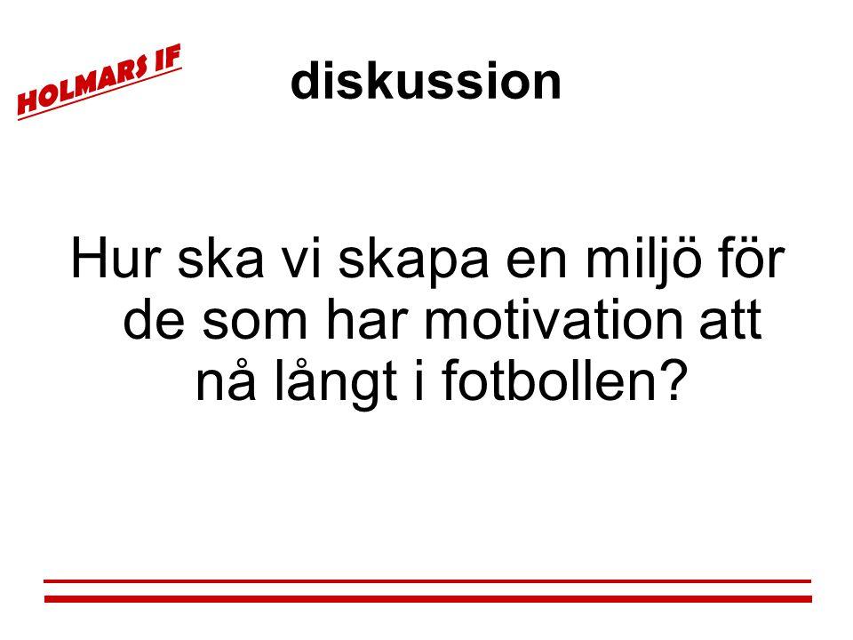 HOLMARS IF diskussion Hur ska vi skapa en miljö för de som har motivation att nå långt i fotbollen?