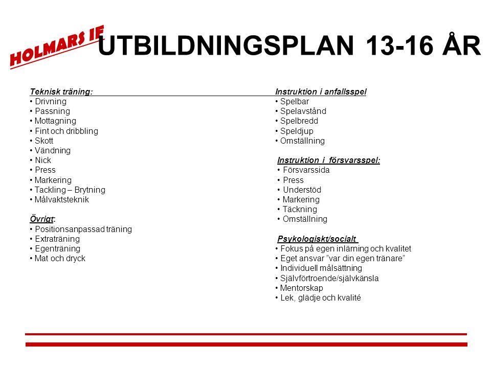 HOLMARS IF UTBILDNINGSPLAN 13-16 ÅR Teknisk träning:Instruktion i anfallsspel • Drivning• Spelbar • Passning• Spelavstånd • Mottagning• Spelbredd • Fi