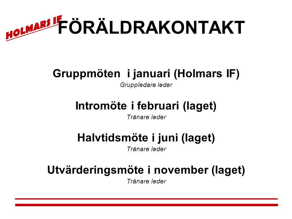 HOLMARS IF FÖRÄLDRAKONTAKT Gruppmöten i januari (Holmars IF) Gruppledare leder Intromöte i februari (laget) Tränare leder Halvtidsmöte i juni (laget)