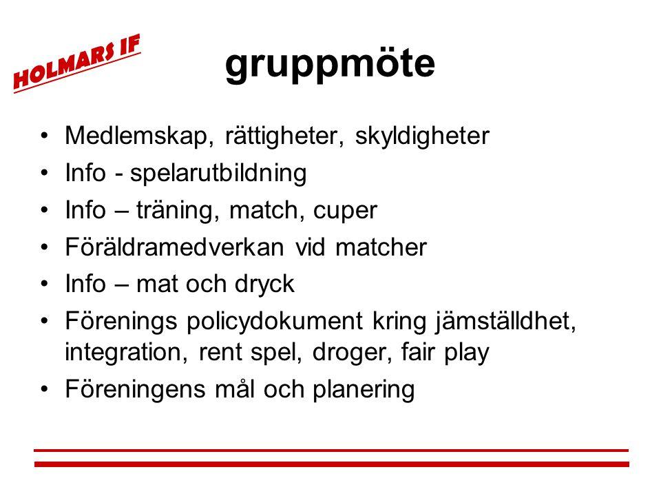 HOLMARS IF gruppmöte •Medlemskap, rättigheter, skyldigheter •Info - spelarutbildning •Info – träning, match, cuper •Föräldramedverkan vid matcher •Inf