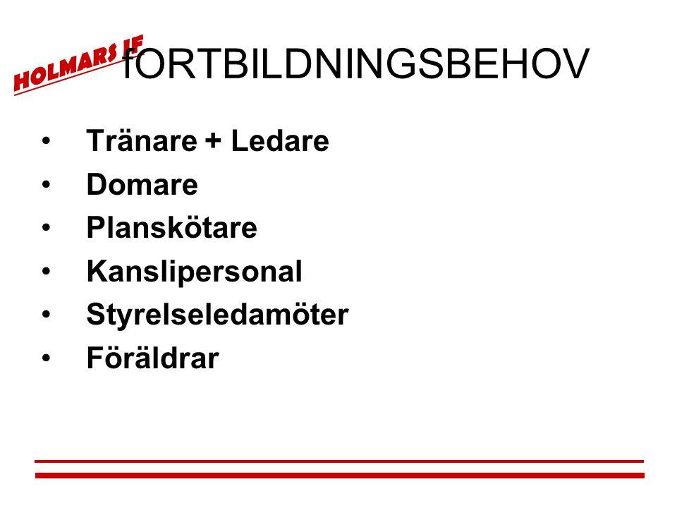 HOLMARS IF fORTBILDNINGSBEHOV •Tränare + Ledare •Domare •Planskötare •Kanslipersonal •Styrelseledamöter •Föräldrar
