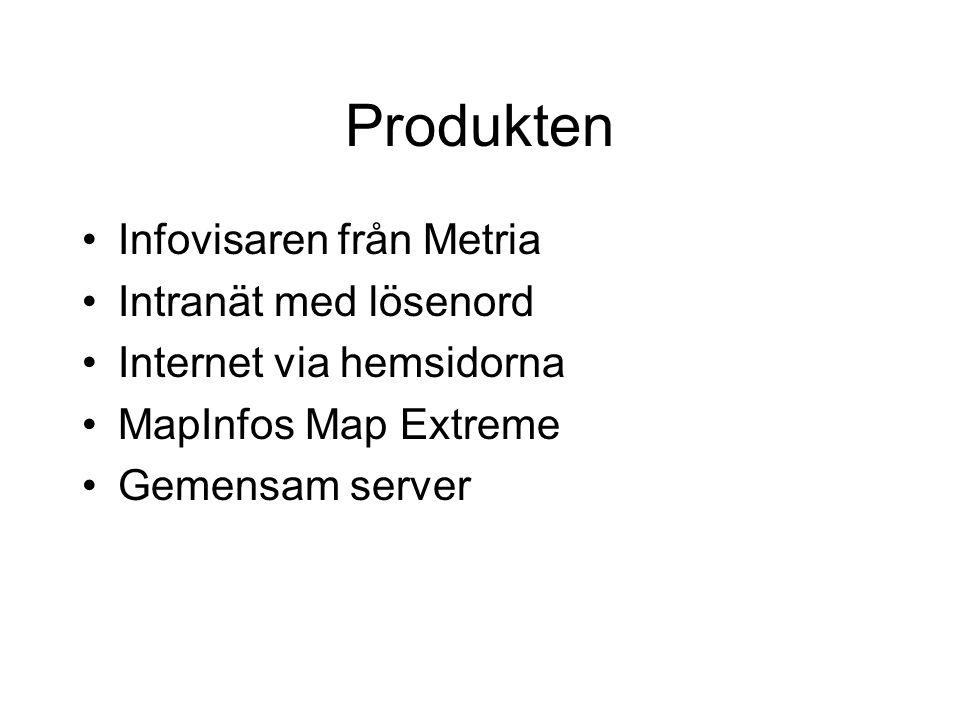 Produkten •Infovisaren från Metria •Intranät med lösenord •Internet via hemsidorna •MapInfos Map Extreme •Gemensam server