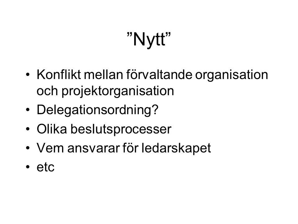 """""""Nytt"""" •Konflikt mellan förvaltande organisation och projektorganisation •Delegationsordning? •Olika beslutsprocesser •Vem ansvarar för ledarskapet •e"""