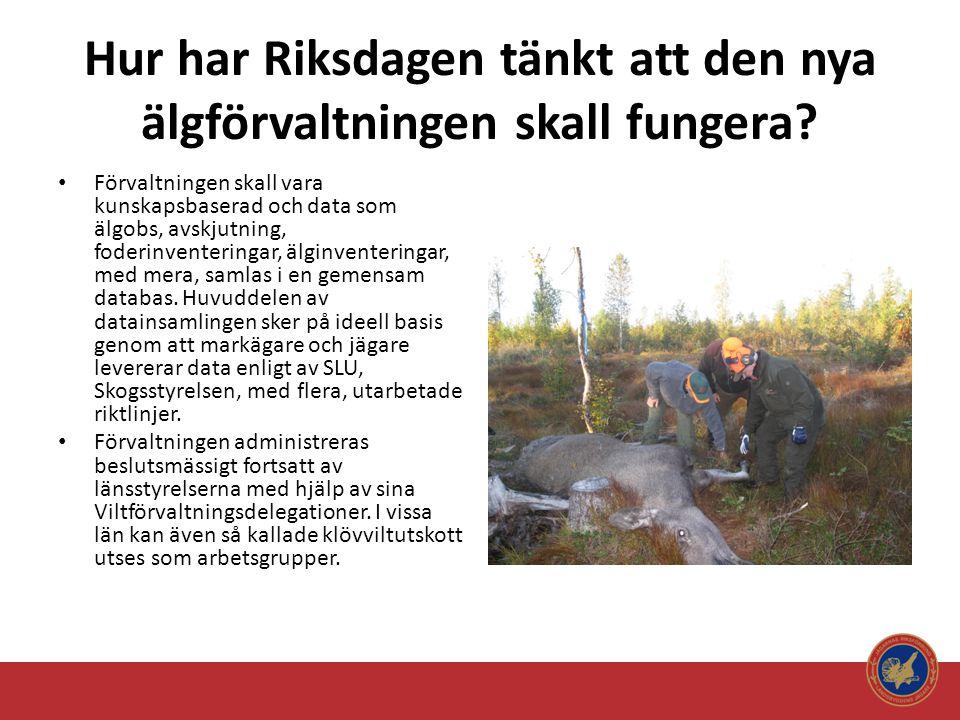Hur har Riksdagen tänkt att den nya älgförvaltningen skall fungera? • Förvaltningen skall vara kunskapsbaserad och data som älgobs, avskjutning, foder