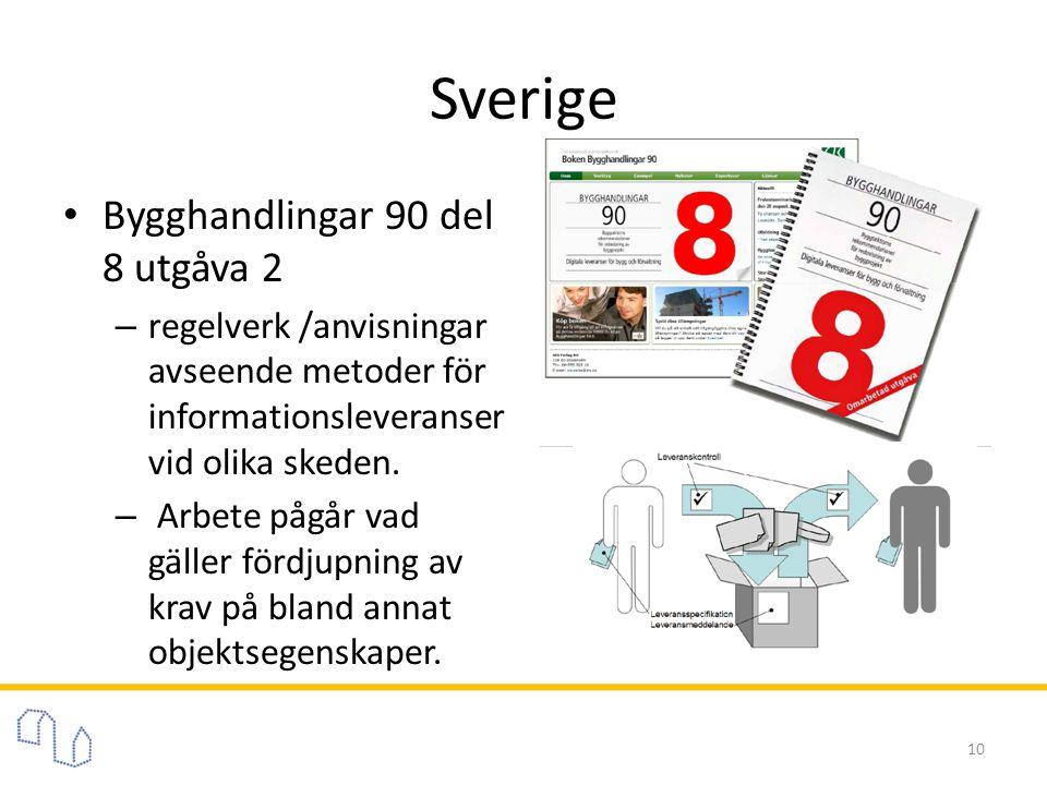 Sverige • Bygghandlingar 90 del 8 utgåva 2 – regelverk /anvisningar avseende metoder för informationsleveranser vid olika skeden. – Arbete pågår vad g