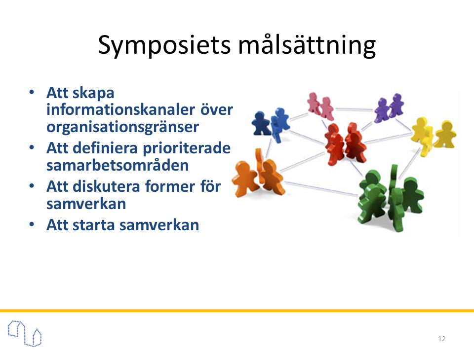 Symposiets målsättning • Att skapa informationskanaler över organisationsgränser • Att definiera prioriterade samarbetsområden • Att diskutera former för samverkan • Att starta samverkan 12
