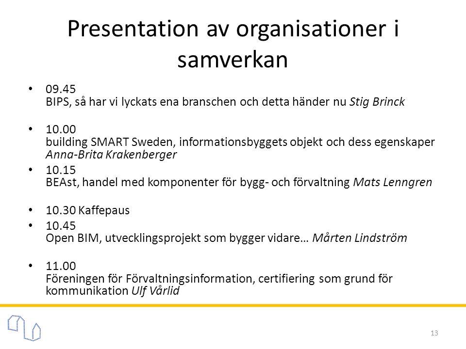 Presentation av organisationer i samverkan • 09.45 BIPS, så har vi lyckats ena branschen och detta händer nu Stig Brinck • 10.00 building SMART Sweden, informationsbyggets objekt och dess egenskaper Anna-Brita Krakenberger • 10.15 BEAst, handel med komponenter för bygg- och förvaltning Mats Lenngren • 10.30 Kaffepaus • 10.45 Open BIM, utvecklingsprojekt som bygger vidare… Mårten Lindström • 11.00 Föreningen för Förvaltningsinformation, certifiering som grund för kommunikation Ulf Vårlid 13