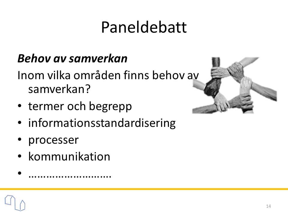 Paneldebatt Behov av samverkan Inom vilka områden finns behov av samverkan? • termer och begrepp • informationsstandardisering • processer • kommunika