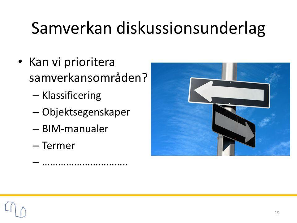• Kan vi prioritera samverkansområden? – Klassificering – Objektsegenskaper – BIM-manualer – Termer – ………………………….. Samverkan diskussionsunderlag 19