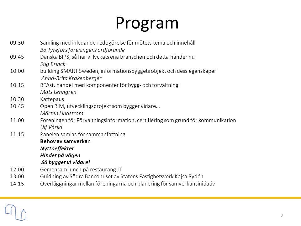 Program 2 09.30 Samling med inledande redogörelse för mötets tema och innehåll Bo Tyrefors föreningens ordförande 09.45Danska BIPS, så har vi lyckats ena branschen och detta händer nu Stig Brinck 10.00building SMART Sweden, informationsbyggets objekt och dess egenskaper Anna-Brita Krakenberger 10.15BEAst, handel med komponenter för bygg- och förvaltning Mats Lenngren 10.30Kaffepaus 10.45Open BIM, utvecklingsprojekt som bygger vidare… Mårten Lindström 11.00Föreningen för Förvaltningsinformation, certifiering som grund för kommunikation Ulf Vårlid 11.15Panelen samlas för sammanfattning Behov av samverkan Nyttoeffekter Hinder på vägen Så bygger vi vidare.