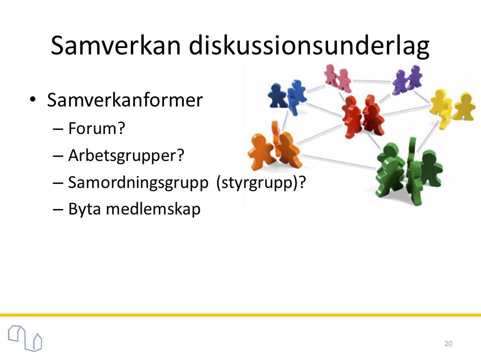 Samverkan diskussionsunderlag • Samverkanformer – Forum? – Arbetsgrupper? – Samordningsgrupp (styrgrupp)? – Byta medlemskap 20
