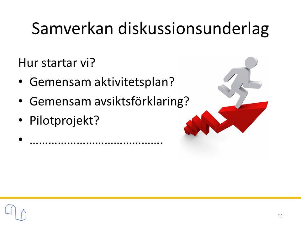 Samverkan diskussionsunderlag Hur startar vi? • Gemensam aktivitetsplan? • Gemensam avsiktsförklaring? • Pilotprojekt? • ……………………………………. 21