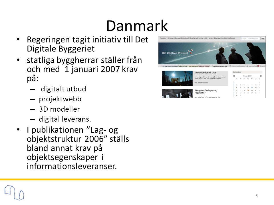 Danmark • Regeringen tagit initiativ till Det Digitale Byggeriet • statliga byggherrar ställer från och med 1 januari 2007 krav på: – digitalt utbud – projektwebb – 3D modeller – digital leverans.