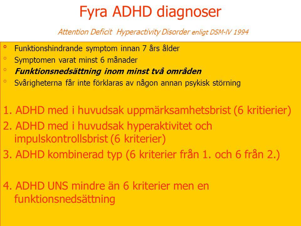 11 Fyra ADHD diagnoser Attention Deficit Hyperactivity Disorder enligt DSM-lV 1994 °Funktionshindrande symptom innan 7 års ålder °Symptomen varat minst 6 månader °Funktionsnedsättning inom minst två områden °Svårigheterna får inte förklaras av någon annan psykisk störning 1.