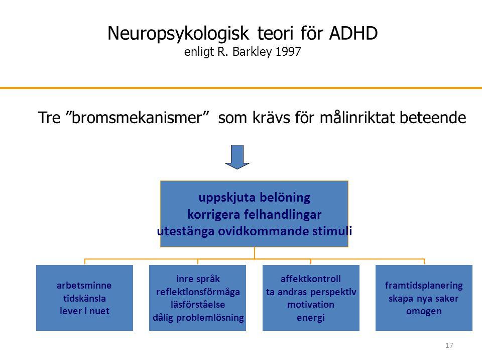 """17 Neuropsykologisk teori för ADHD enligt R. Barkley 1997 Tre """"bromsmekanismer"""" som krävs för målinriktat beteende"""