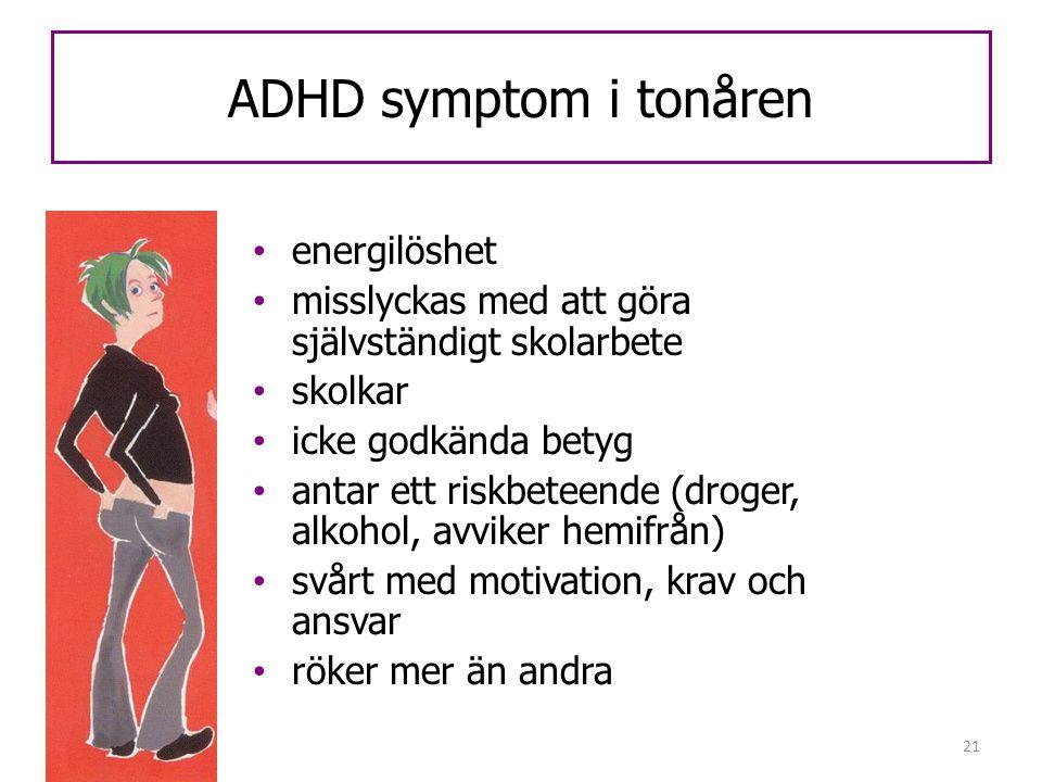 21 ADHD symptom i tonåren • energilöshet • misslyckas med att göra självständigt skolarbete • skolkar • icke godkända betyg • antar ett riskbeteende (