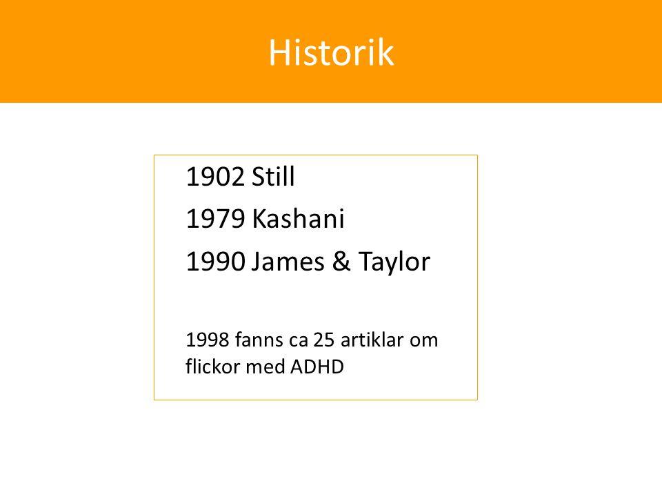 Historik ◊1902 Still ◊1979 Kashani ◊1990 James & Taylor ◊1998 fanns ca 25 artiklar om flickor med ADHD