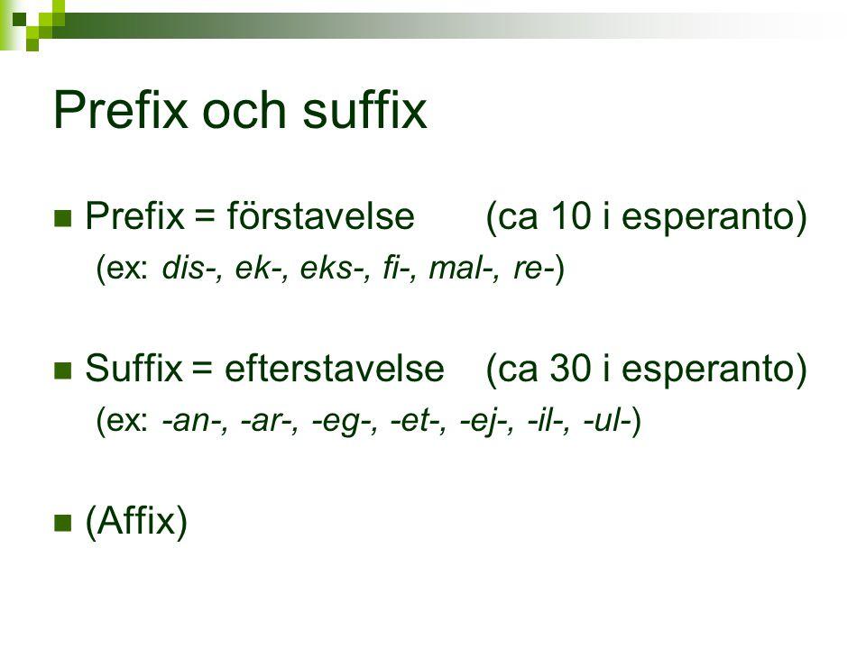 Prefix och suffix  Prefix = förstavelse (ca 10 i esperanto) (ex: dis-, ek-, eks-, fi-, mal-, re-)  Suffix = efterstavelse (ca 30 i esperanto) (ex: -