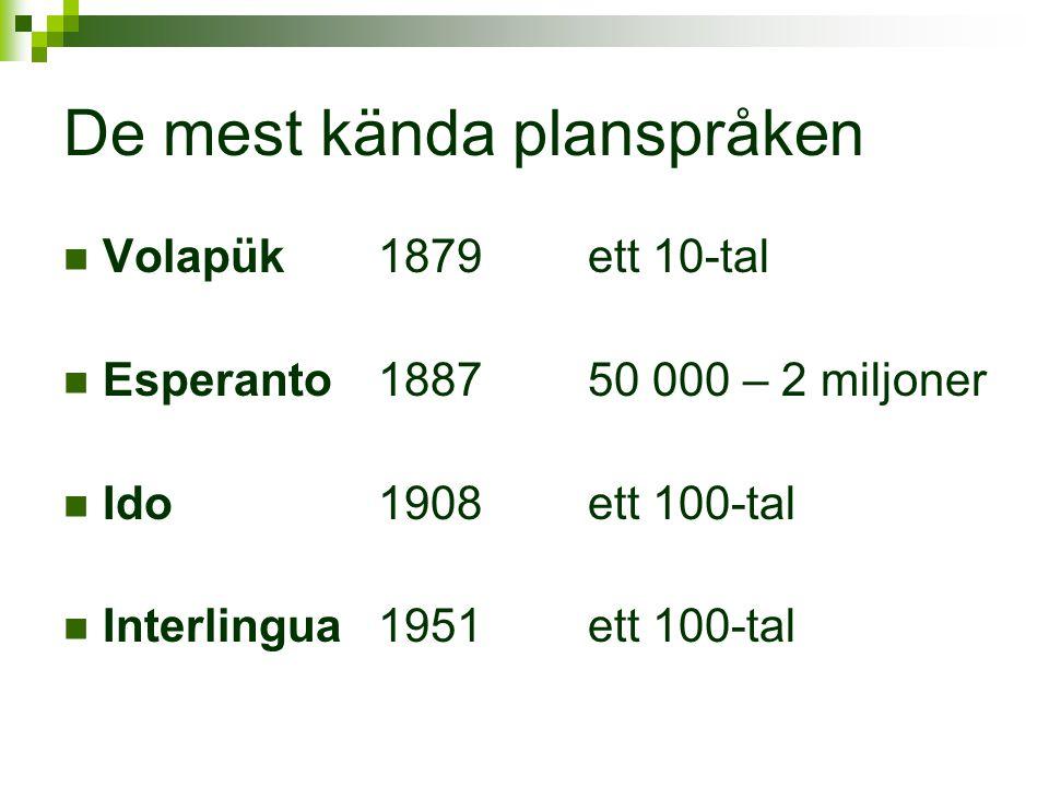 De mest kända planspråken  Volapük 1879ett 10-tal  Esperanto188750 000 – 2 miljoner  Ido1908ett 100-tal  Interlingua1951ett 100-tal