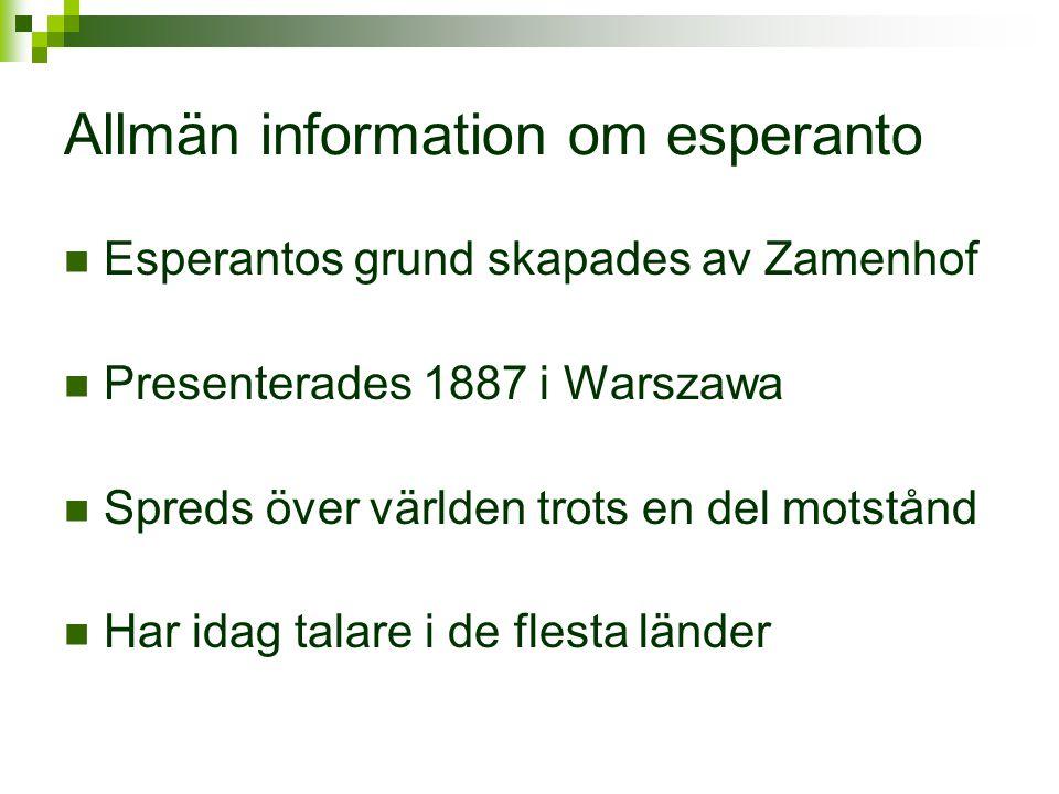 Allmän information om esperanto  Esperantos grund skapades av Zamenhof  Presenterades 1887 i Warszawa  Spreds över världen trots en del motstånd 