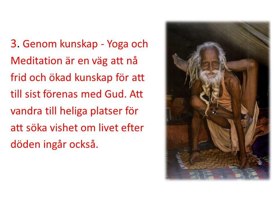 3. Genom kunskap - Yoga och Meditation är en väg att nå frid och ökad kunskap för att till sist förenas med Gud. Att vandra till heliga platser för at