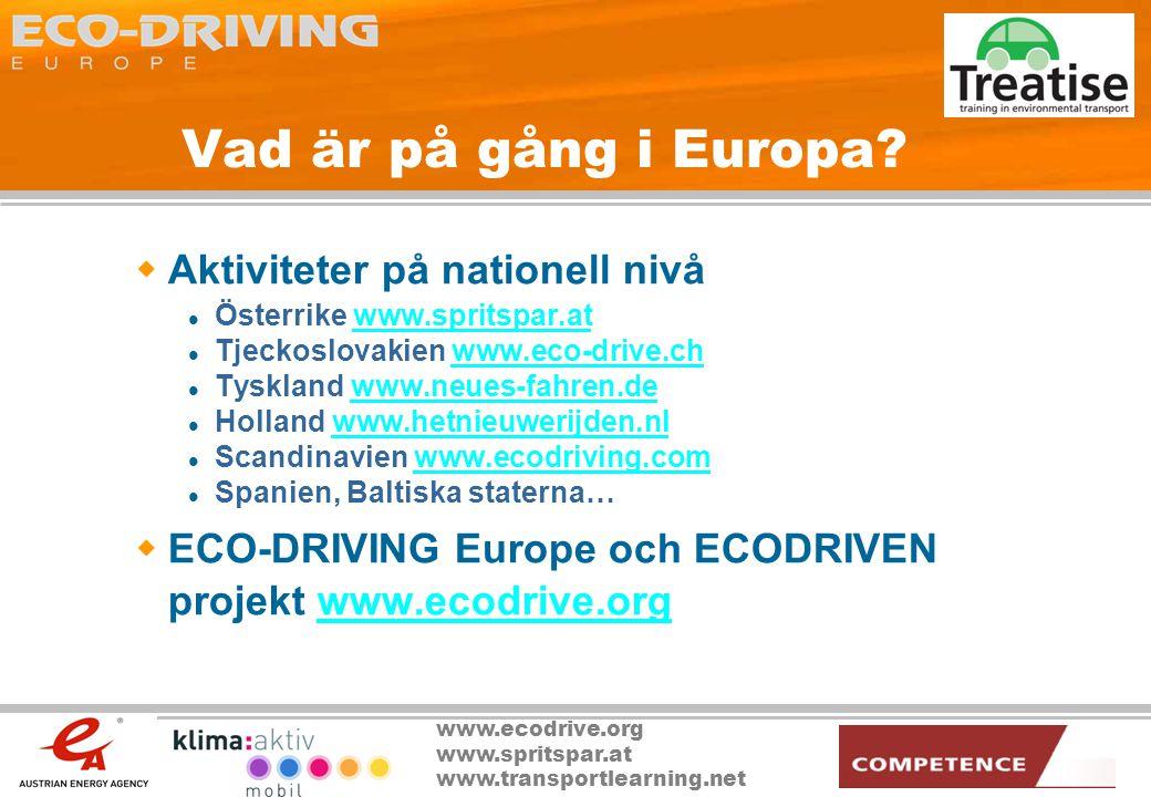 www.ecodrive.org www.spritspar.at www.transportlearning.net Vad är på gång i Europa?  Aktiviteter på nationell nivå  Österrike www.spritspar.atwww.s